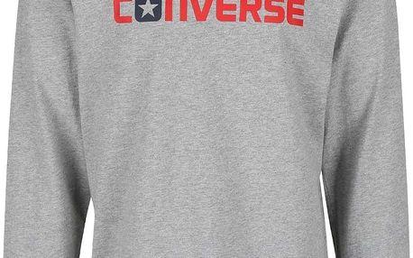 Šedé pánské triko s nápisem a dlouhým rukávem Converse