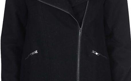 Černý vlněný kabát na zip Lavand