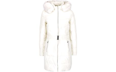Krémový prošívaný kabát s umělým kožíškem a páskem Dorothy Perkins
