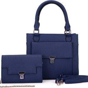 SET: Dámská námořnicky modrá kabelka a psaníčko Symba 5092