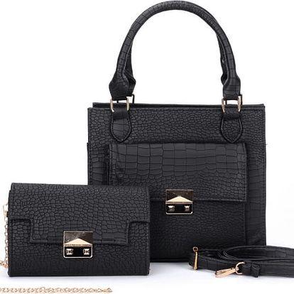 SET: Dámská černá kabelka a psaníčko Nubie 5091