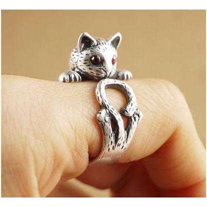Vintage prsten ve tvaru kočky - různé barvy