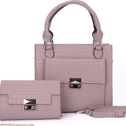 SET: Dámská růžová kabelka a psaníčko Nubie 5091
