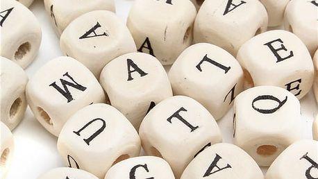 Dřevěné kostky s písmeny - mix 100 ks