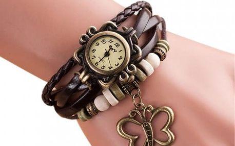Vícevrstvé vintage hodinky s motýlkem