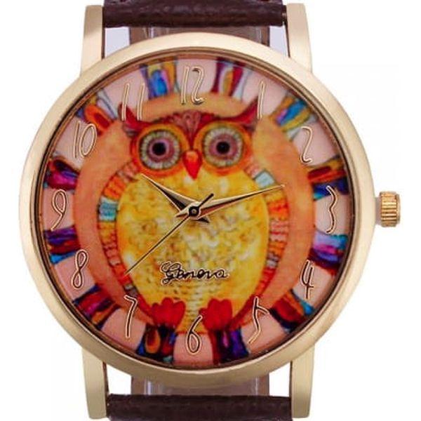 Dámské vintage hodinky s barevnou sovičkou