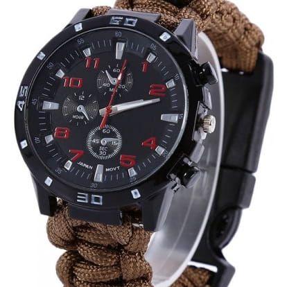 Pánské hodinky s paracord náramkem a kompasem