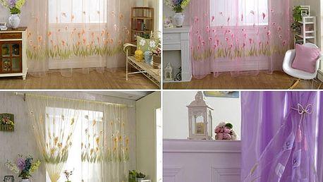 Elegantní záclonka s motivem květin