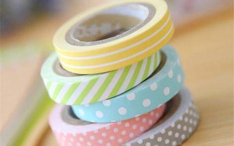 Dekorační pásky s puntíky a proužky - 5 ks