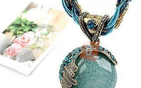Exotický retro náhrdelník - modrý