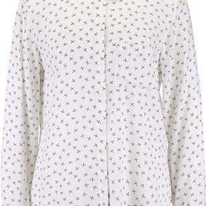 Krémová vzorovaná košile s dlouhým rukávem Vero Moda Scissor