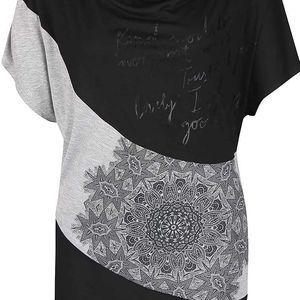 Šedo-černé volnější vzorované tričko Desigual Suiza