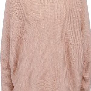 Světle růžový volnější svetr s netopýřími rukávy VILA