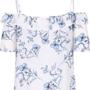 Krémová květovaná halenka s odhalenými rameny Dorothy Perkins Petite