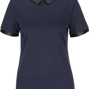 Tmavě modré tričko s koženkovým límečkem a lemy VILA Tinny