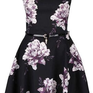 Černé šaty s fialovými květy Apricot