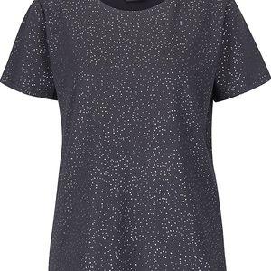 Šedé dámské tričko s potiskem ve stříbrné barvě ICHI Kezza