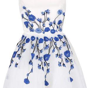 Bílé šaty s vyšívanými květy Chi Chi London Taylor