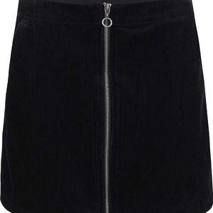 Černá manžestrová sukně se zipem Dorothy Perkins