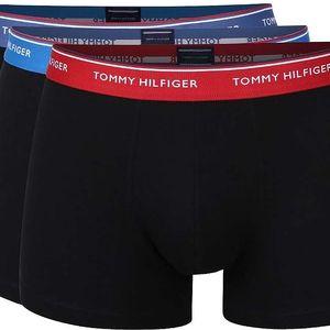 Sada tří černých boxerek s modrým a červeným lemem Tommy Hilfiger