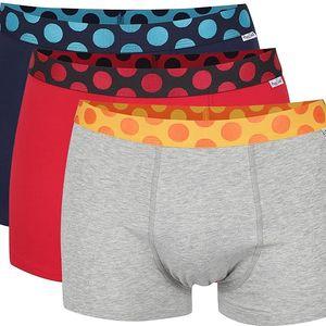 Sada tří boxerek v šedé, červené a tmavě modré barvě Happy Socks