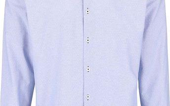 Světle modrá vzorovaná košile bez límečku Burton Menswear London