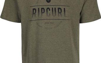 Olivově zelené pánské triko s potiskem Rip Curl Rounded SS Tee