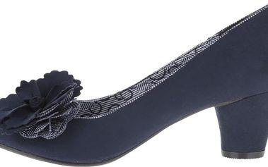 Modré lodičky na nižším podpatku s květinou Ruby Shoo Samira