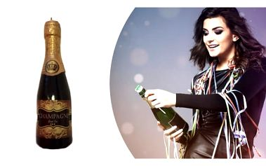 Svíčka šampaňské. Svíčky rozhodně nesmí chybět na žádné oslavě. Zapálená svíčka vytvoří příjemnou, romantickou a hřejivou atmosféru.