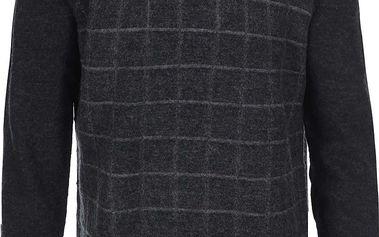 Šedý svetr s kostkovaným vzorem Ben Sherman