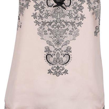 Starorůžové pyžamo s černou krajkou Lipsy