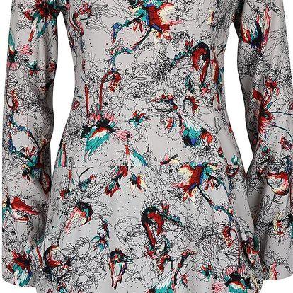 Světle šedé šaty s barevným vzorem Skunkfunk Madge