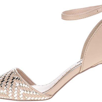 Starorůžové dámské boty na podpatku s metalickými detaily Miss KG