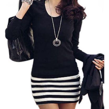 Šaty s dlouhým rukávem a vzorem proužku