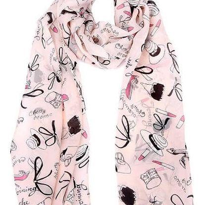 Dámský šátek v růžové barvě s módními doplňky