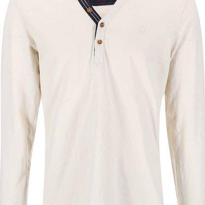 Krémové pánské triko s dlouhým rukávem s.Oliver