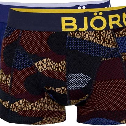 Sada dvou tmavě modrých a černých boxerek se vzorem Björn Borg