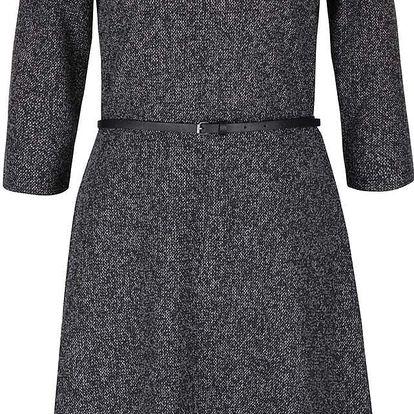 Tmavě šedé žíhané šaty s páskem s.Oliver