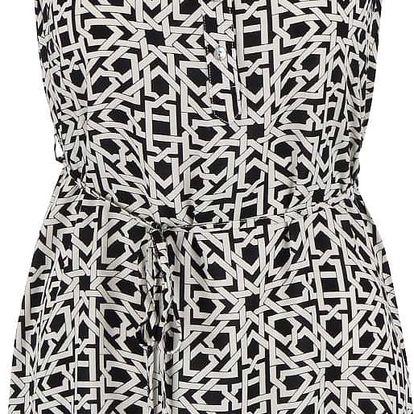Krémovo-černé šaty s geometrickým vzorem Zabaione