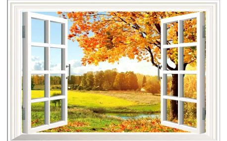 3D samolepka na zeď - Okno do podzimního dne - dodání do 2 dnů