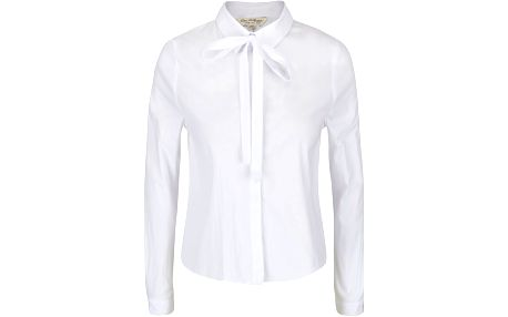 Bílá krátší košile s mašlí Miss Selfridge