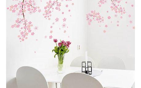 Samolepka na zeď s růžovými květy