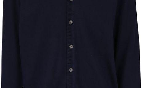 Tmavě modrý propínací svetr s véčkovým výstřihem Burton Menswear London