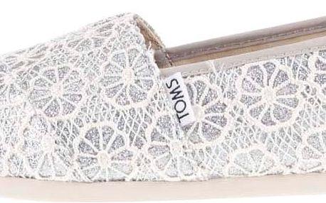Dámské krajkové loafers v krémovo-stříbrné barvě TOMS