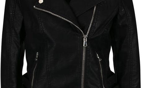 Černá koženková bunda s odepínatelnou kapucí Miss Selfridge