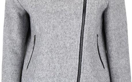 Světle šedý žíhaný krátký kabát VILA