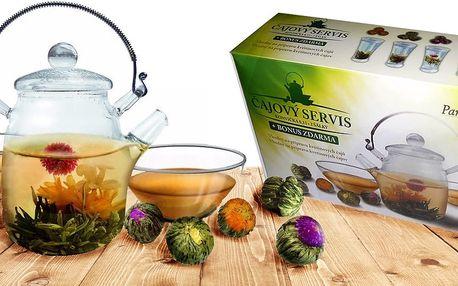 Set konvice, šálků a kvetoucího čaje Blooming Tea