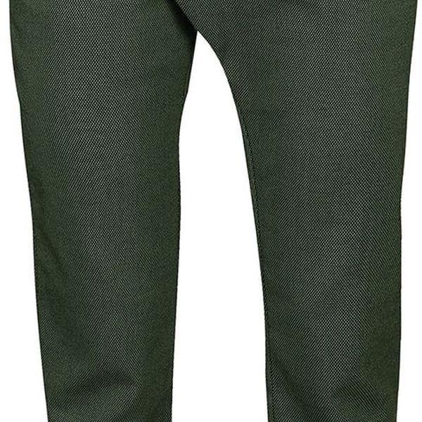 Tmavě zelené vzorované kalhoty Skunkfunk Deba