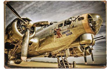 Plechová retro cedule - vojenský letoun - dodání do 2 dnů