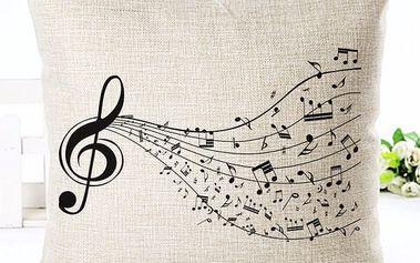 Povlak na polštář s hudebními motivy - dodání do 2 dnů